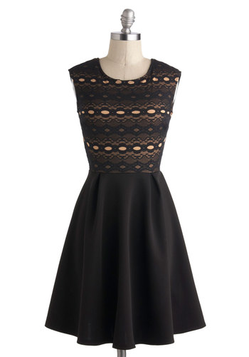 Elegance is Effortless Dress - Sheer, Mid-length, Black, Tan / Cream, Cutout, Lace, Party, A-line, Scoop, Wedding, Cocktail, Bridesmaid