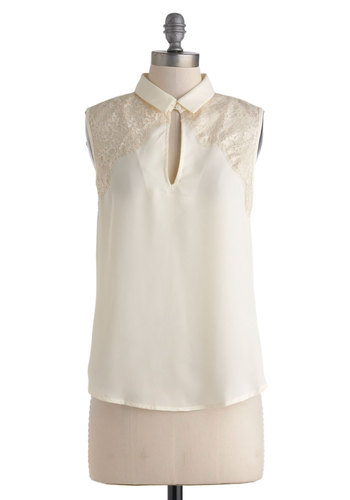 Study of Style Top - Sheer, Mid-length, Cream, Lace, Work, Sleeveless, Collared
