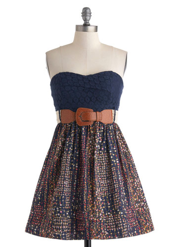 Chrysanthemum Fields Forever Dress - Cotton, Blue, Multi, Floral, Lace, Belted, Casual, Strapless, Sweetheart, Boho, A-line, Empire, Summer