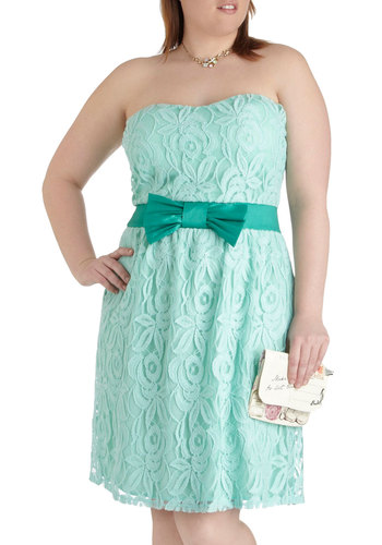 Poise for the Camera Dress in Plus Size - Mint, Lace, Prom, Wedding, Party, Pastel, Strapless, Solid, Bows, A-line, Sweetheart, Bridesmaid, Summer, Exclusives