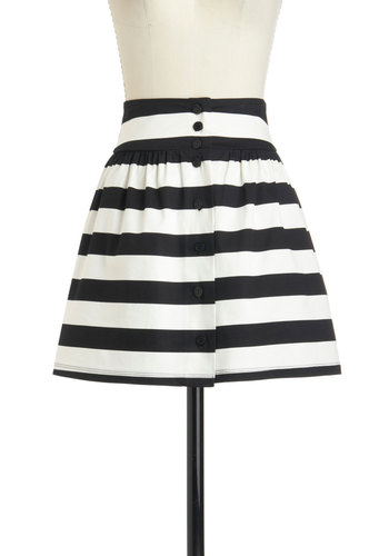 Local Bands Skirt - Multi, Black, White, Stripes, Buttons, Work, A-line, Cotton, Short, Party