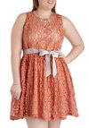 Spiced Tea Time Dress in Plus Size - Tan, Solid, Cutout, Lace, Belted, Party, A-line, Sleeveless, Crew, Cocktail, Prom