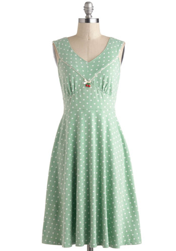 Effortless Charmer Dress by Blutsgeschwister - International Designer, Mint, White, Polka Dots, Bows, Trim, Casual, A-line, Sleeveless, V Neck, Mid-length, Pastel, Cotton