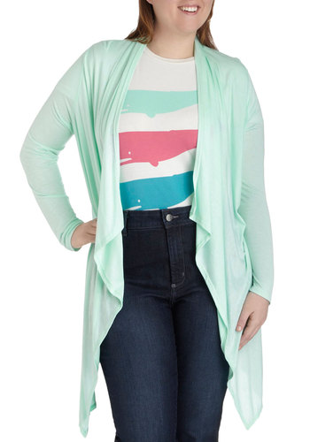 Pastel Pastime Cardigan in Plus Size - Mint, Solid, Casual, Long Sleeve, Pastel, Minimal, Spring, Travel