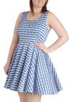 Day off the Grid Dress in Thatch - Plus Size - Print, Casual, Blue, White, A-line, Tank top (2 thick straps), Scoop, Summer, Variation