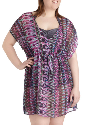 Breeze from the Balcony Cover-Up in Plus Size - Sheer, Print, Beach/Resort, Purple, Multi, Summer