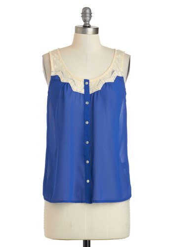 Blueberries and Brie Top - Sheer, Mid-length, Blue, Tan / Cream, Buttons, Lace, Sleeveless, Casual, Scoop, Summer