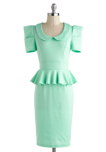 Work with Me Dress in Mint - Long, Mint, Solid, Peter Pan Collar, Ruffles, Work, Daytime Party, Sheath / Shift, Peplum, Short Sleeves, Collared, Pastel, 60s, Pinup