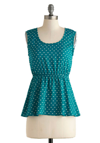 Teal Sea Top - Mid-length, Blue, White, Sleeveless, Novelty Print, Print, Cutout, Casual, Empire, Scoop, Summer