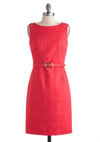 Looping Good Dress - Mid-length, Red, Solid, Cutout, Belted, Work, Shift, Sleeveless, Boat, Party, Holiday Party, Cotton