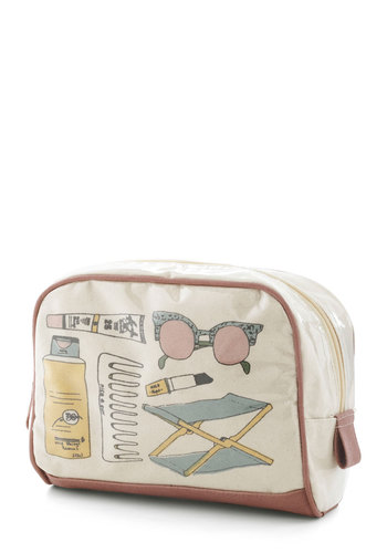 Beachy Beauty Make-Up Bag by Nice Things - International Designer, Tan, Multi, Novelty Print, Beach/Resort, Travel, Summer