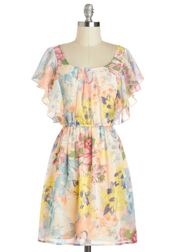 Backyard Beauty Dress - Short, Multi, Floral, Ruffles, A-line, Cap Sleeves, Scoop, Daytime Party, Graduation