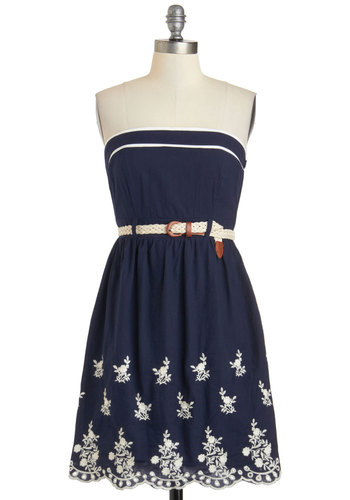 Floral Designer by Day Dress - Cotton, Blue, White, Cutout, Embroidery, Belted, Casual, A-line, Strapless, Daytime Party, Summer