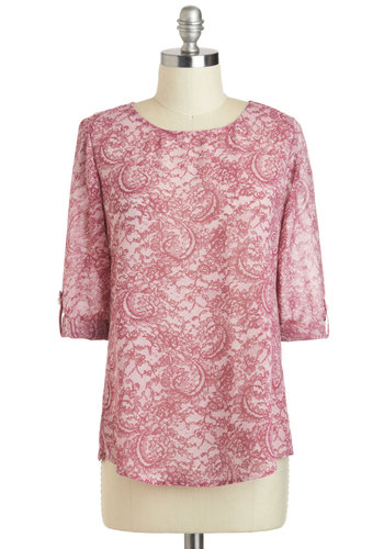 Torte de Force Top - Sheer, Mid-length, Pink, Print, Work, Casual, French / Victorian, 3/4 Sleeve, Crew