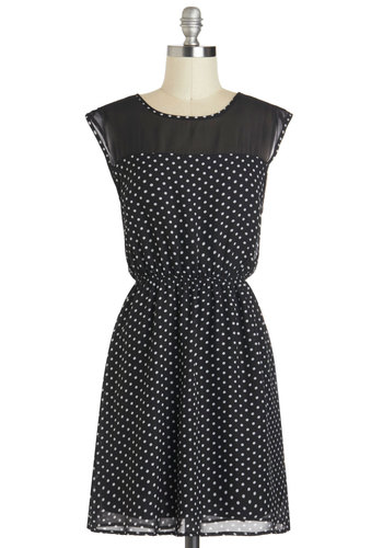 Seeing Spots Dress - Mid-length, Black, White, Polka Dots, Casual, A-line, Cap Sleeves, Crew, Daytime Party, Sheer