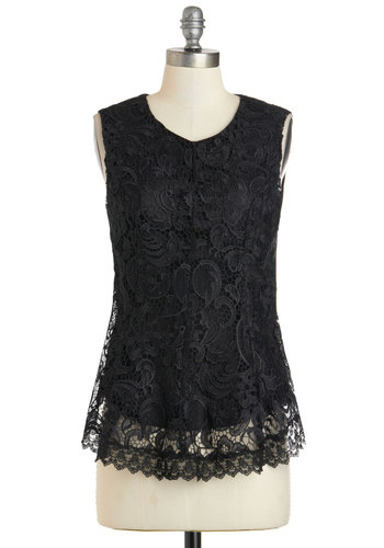 Prepare to Lunch Top - Mid-length, Black, Lace, Formal, Work, Sleeveless, Solid, French / Victorian, Scoop