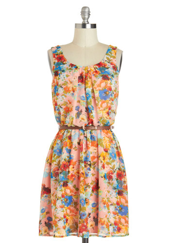 Beauty in the Boutique Dress - Pink, Floral, Belted, Spring, Chiffon, Short, Multi, A-line, Tank top (2 thick straps), Scoop, Pleats, Casual, Graduation, Sundress