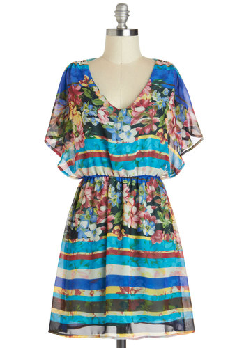 Blossoming Broadcasting Career Dress - Short, Blue, Multi, Floral, Casual, A-line, Cap Sleeves, V Neck, Beach/Resort