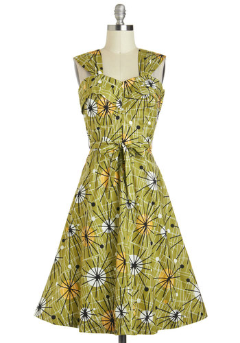 Angela's Revel in Retro Dress by Fables by Barrie - Cotton, Long, Green, Yellow, Black, White, Print, Belted, Daytime Party, A-line, Sleeveless, Vintage Inspired, 60s, 70s, Summer