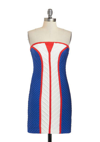 In and Nights Out Dress - Short, Red, Blue, White, Girls Night Out, Bodycon / Bandage, Strapless
