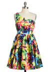 Rebel Danielly Dress - Short, Multi, Floral, Exposed zipper, Prom, Party, Fit & Flare, One Shoulder, Sheer, Statement