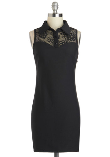 Breakfast the Ice Dress - Short, Black, Solid, Bodycon / Bandage, Sleeveless, Collared, Party, Girls Night Out, Minimal