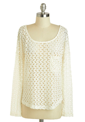 Evening on the Beach Top - Sheer, Mid-length, Cream, Crochet, Beach/Resort, Long Sleeve, Solid, Casual, Scoop