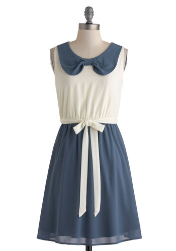 Writers Reunion Dress - Chiffon, Mid-length, Blue, White, Peter Pan Collar, Belted, Casual, A-line, Twofer, Sleeveless, Collared, Nautical, Summer