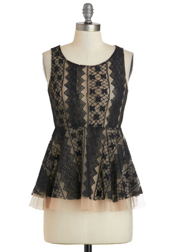 Refined By Me Top - Sheer, Mid-length, Black, Tan / Cream, Lace, Formal, Work, Cocktail, Peplum, Sleeveless, Film Noir, Vintage Inspired, Scoop