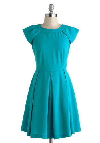 Date Tonight Dress - Short, Blue, Solid, Exposed zipper, Pleats, Party, A-line, Cap Sleeves, Crew, Work, Vintage Inspired