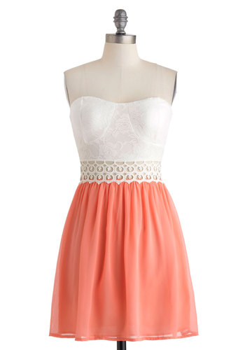 Gazebo Gala Dress - Short, White, Coral, Crochet, Lace, Pearls, Daytime Party, A-line, Strapless, Sweetheart, Cutout, Girls Night Out, Pastel, Summer