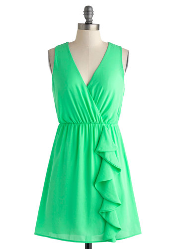 Sherbet On It Dress - Short, Green, Solid, Ruffles, Casual, A-line, Wrap, Sleeveless, V Neck, Summer