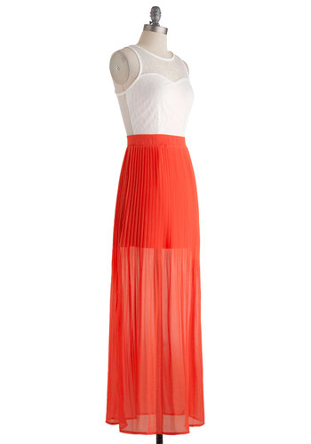 Maxi and Relaxing Dress - Long, White, Coral, Cutout, Lace, Maxi, Sleeveless, Crew, Pleats, Daytime Party, Twofer, Sheer