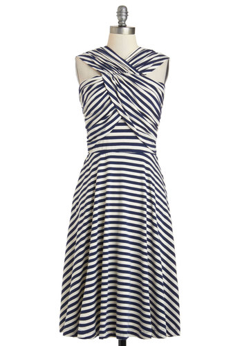 In a Glass of Its Own Dress in Stripes by Effie's Heart - Nautical, Cotton, Long, Blue, White, Stripes, Pockets, Casual, A-line, Sleeveless