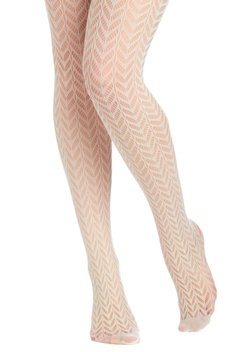 High Dramaturge Tights in Ivory - Cream, Solid, Cutout, Sheer