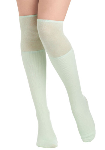 Perfectly Casual Socks in Mint - Green, Solid, Pastel, Scholastic/Collegiate, Variation