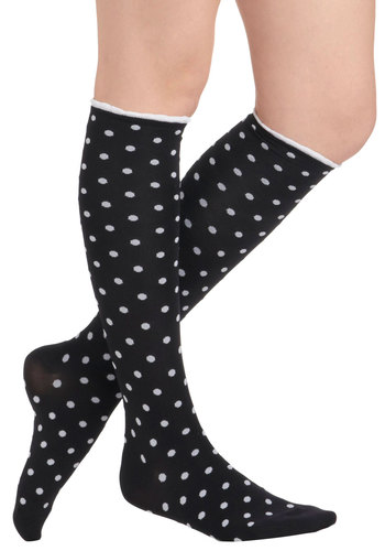 Everyday Dots Socks - Black, White, Polka Dots, Trim, Scholastic/Collegiate