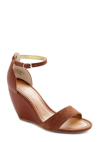 Thyme Wedge in Spice by Seychelles - Tan, Solid, Mid, Wedge, Suede, Daytime Party, Beach/Resort