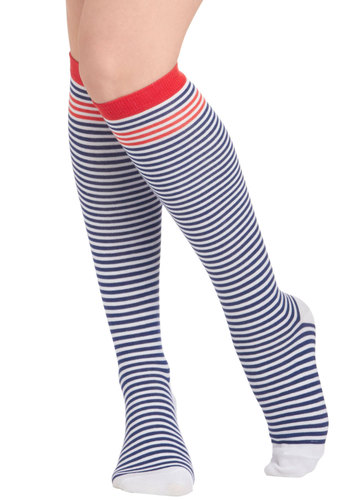 Stripes Again Socks - Blue, Stripes, Red, White, Scholastic/Collegiate
