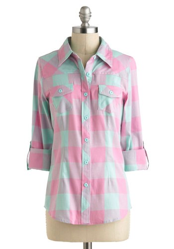 Simply Scout Top in Pink - Cotton, Mid-length, Multi, Pink, Mint, Plaid, Buttons, Casual, Long Sleeve, Collared, Pockets, Menswear Inspired, Button Down, Tab Sleeve