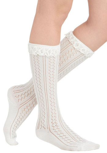Rockin' Ruffles Socks - Cream, Solid, Eyelet, Lace, Vintage Inspired, Scholastic/Collegiate