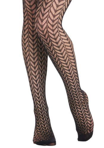 High Dramaturge Tights in Black - Black, Cutout, Sheer, Print