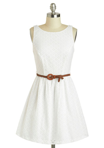 Accepting Bouquets Dress - Cotton, White, Solid, Cutout, Eyelet, Belted, Casual, A-line, Boat, Graduation