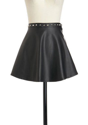 Ashley's Truth Be Bold Skirt by Motel - International Designer, Short, Black, Solid, Studs, Party, Girls Night Out, Urban, Fit & Flare, Faux Leather