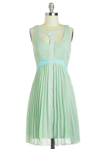 What a Compli-mint! Dress - Mint, Blue, Pleats, Spring, Mid-length, Cutout, Party, A-line, Sleeveless, Solid, Pastel, Prom