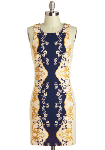 Vine As You Are Dress - Blue, Floral, Paisley, Boho, Short, White, Gold, Exposed zipper, Bodycon / Bandage, Tank top (2 thick straps), Party, Daytime Party, Beach/Resort, Statement