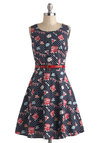 Queen for a Day Dress by Yumi - Blue, Novelty Print, Cutout, Casual, A-line, Sleeveless, Belted, Quirky, Cotton, Mid-length, Multi, Pockets, Scoop, Travel, Polka Dots