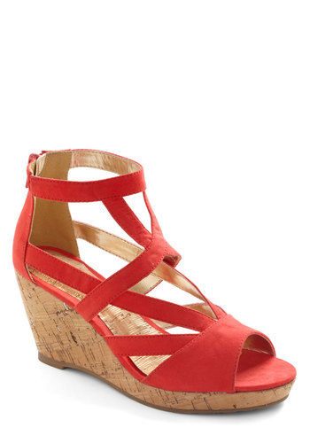Vivacious Vintner Wedge - Red, Solid, Cutout, Wedge, Mid, Party, Daytime Party, Spring, Summer, Strappy