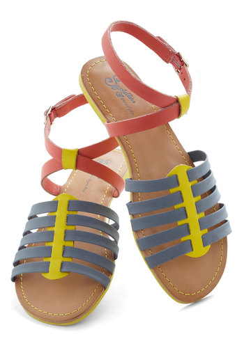Flip the Switch Sandal by Seychelles - Blue, Multi, Solid, Colorblocking, Flat, Leather, Beach/Resort, Casual, Summer
