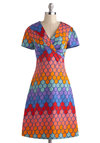 Rainbow Miss Dress - Cotton, Long, Multi, Print, Casual, A-line, Short Sleeves, V Neck, Vintage Inspired, 70s